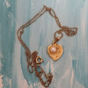 """12K Gold Filled Heart Necklace Pearl Center 18"""""""